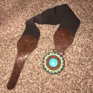 Chunky faux turquoise embellished accent belt